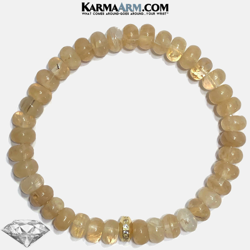 YOU ARE GOLDEN | Rutilated Quartz | CZ Diamond Pave Rondelle Bracelet