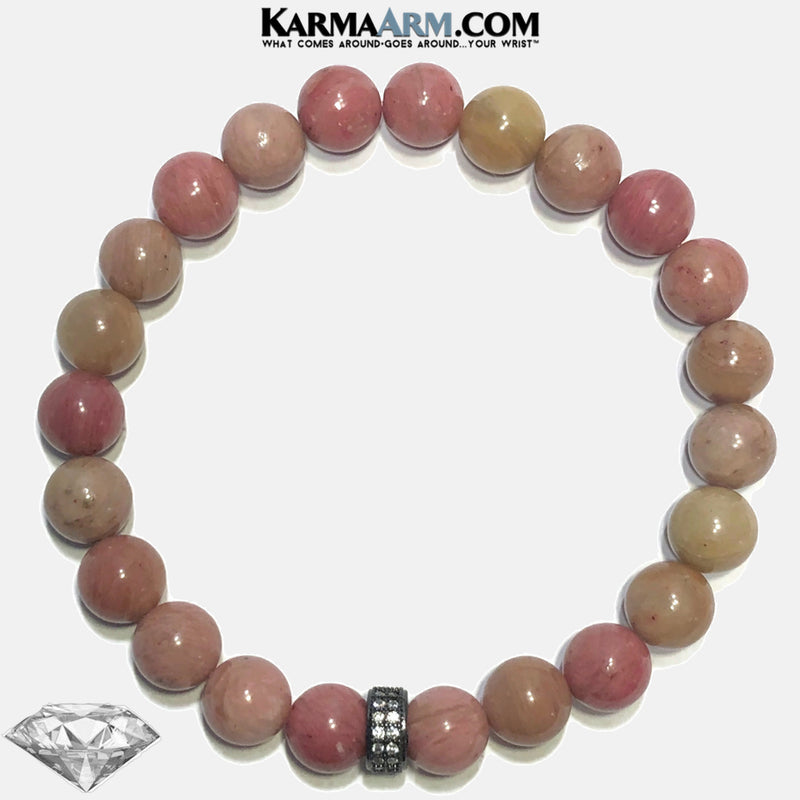 Meditation Mantra Yoga Bracelets. wellness Wristband mens Jewelry. Rhodochrosite. copy