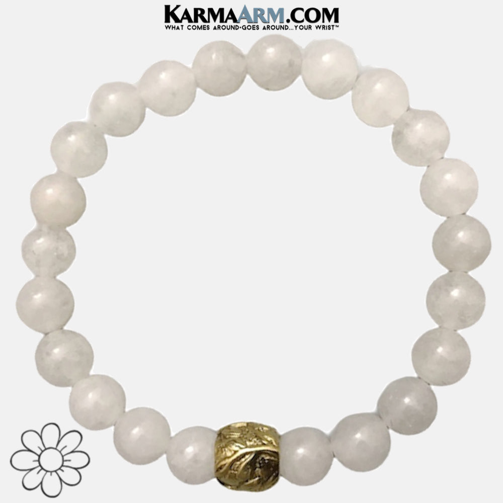 Meditation Mens Bracelet. Self-Care Wellness Wristband Yoga Jewelry. Snow Quartz.