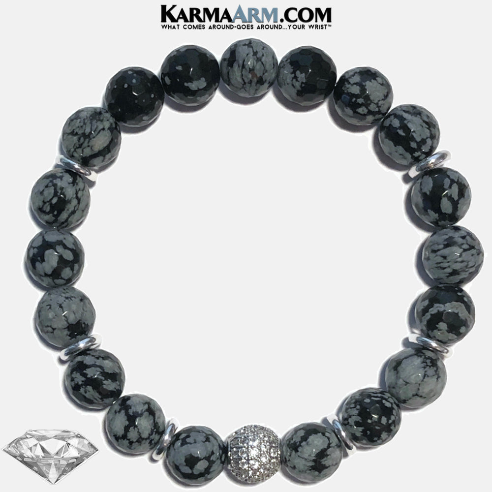 MAKING WAY FOR THE NEW | Snowflake Obsidian | CZ Diamond Pave Ball Bracelet