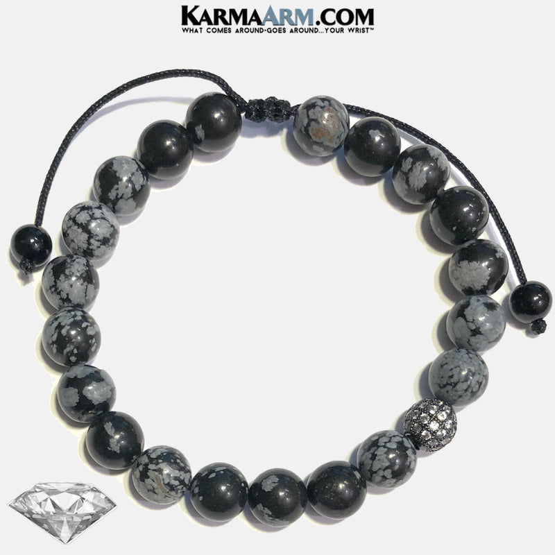 Meditation Mens Bracelet. Self-Care Wellness Wristband Yoga Jewelry. Snowflake Obsidian.