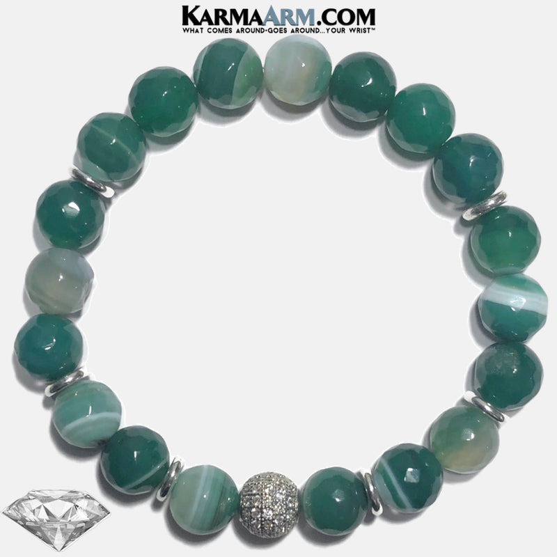 Meditation Mindfulness Mantra Yoga Bracelets. Self-Care Wellness Wristband Jewelry. Green Banded Agate.
