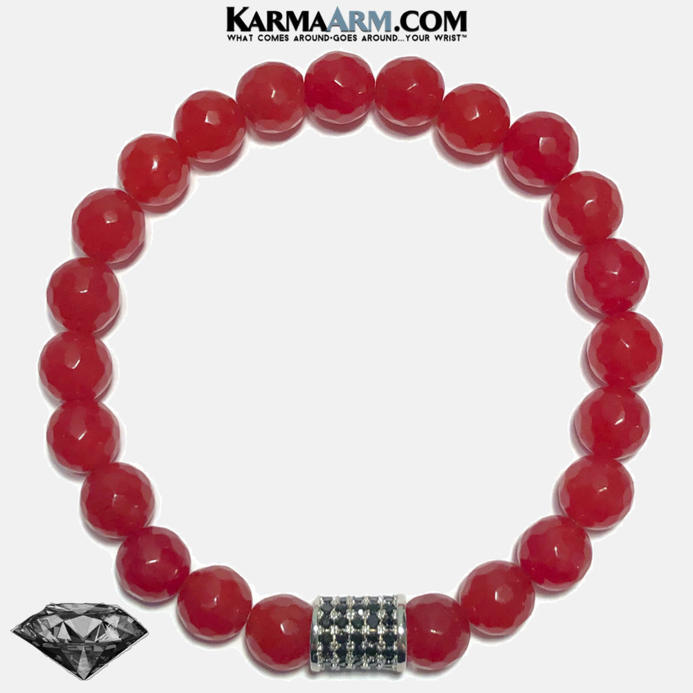 Meditation Mindfulness Yoga Bracelets. Self-Care Wellness Wristband Jewelry. Red Jade. copy