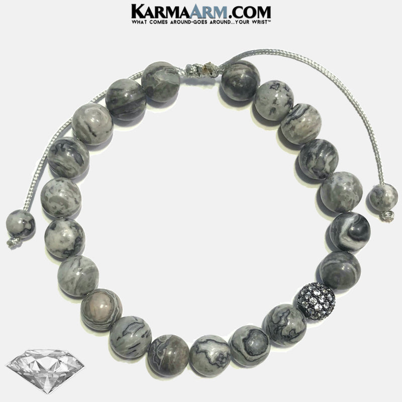 Meditation Self-Care Wellness Mantra Yoga Bracelet. Bead Wristband. Crazy Lace Agate.