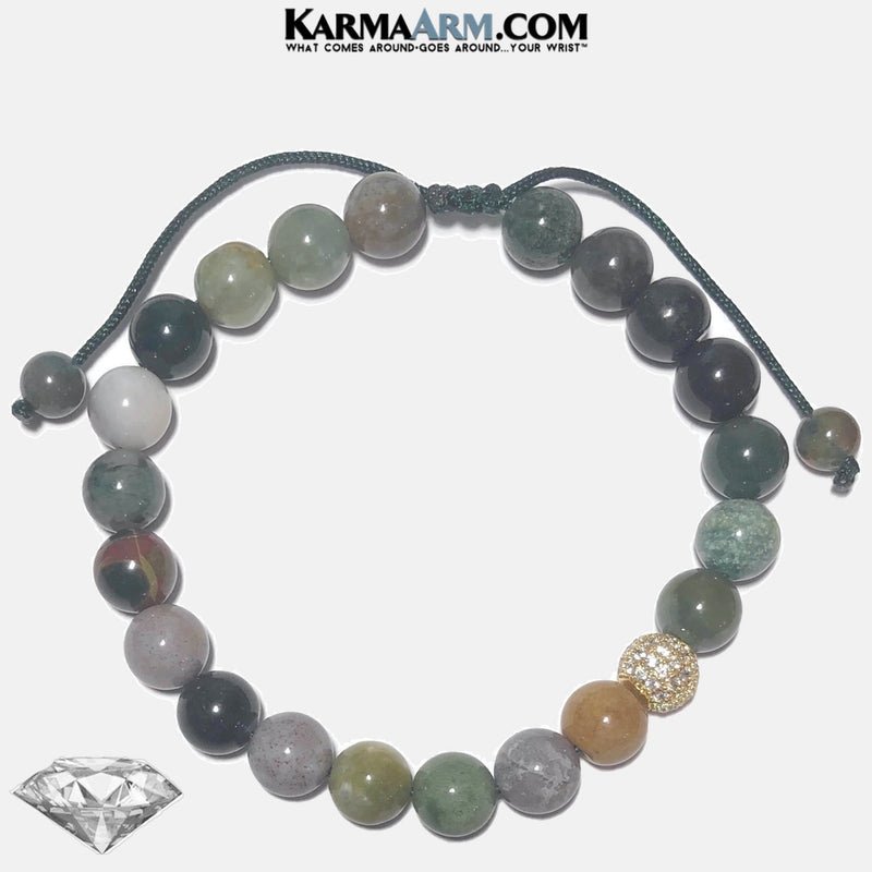 Meditation Self-Care Wellness Mantra Yoga Bracelets. Mens Wristband Jewelry. India Agate. CZ Diamond.