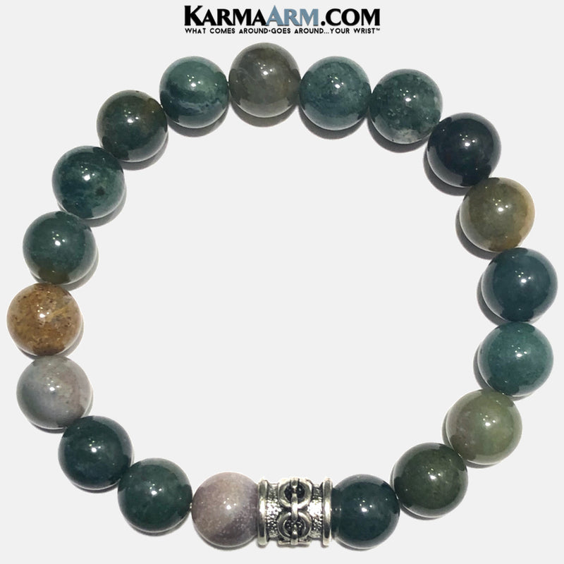 Meditation Self-Care Wellness Mantra Yoga Bracelets. Mens Wristband Jewelry. India Agate.
