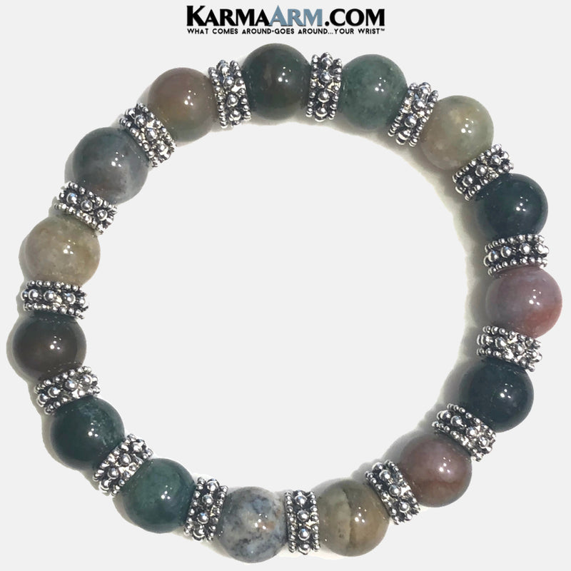 Meditation Self-Care Wellness Mantra Yoga Bracelets. Mens Wristband Jewelry. India Agate. bali.
