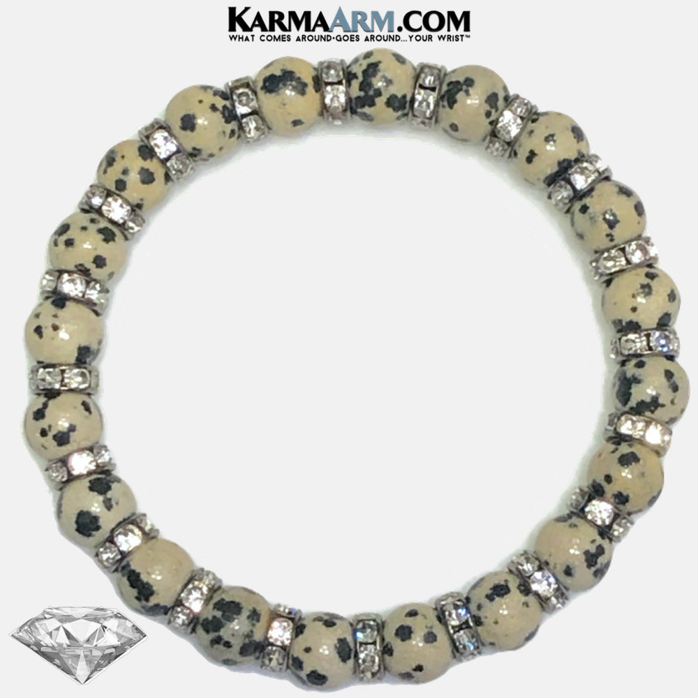 LIGHT THE WAY TO SUCCESS | Dalmatian Stone | CZ Diamond Swarovski Rondelles Bracelet