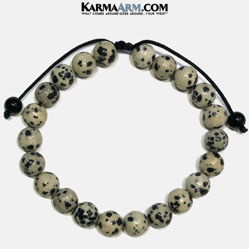 Wellness Self-Care Meditation Mantra Yoga Bracelets. Mens Wristband Jewelry. dalmation stone.