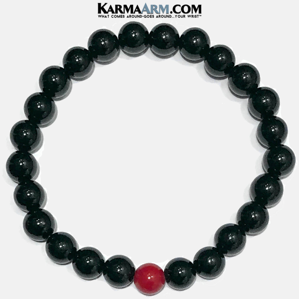 HOPE | Black Onyx | Red Coral Bracelet