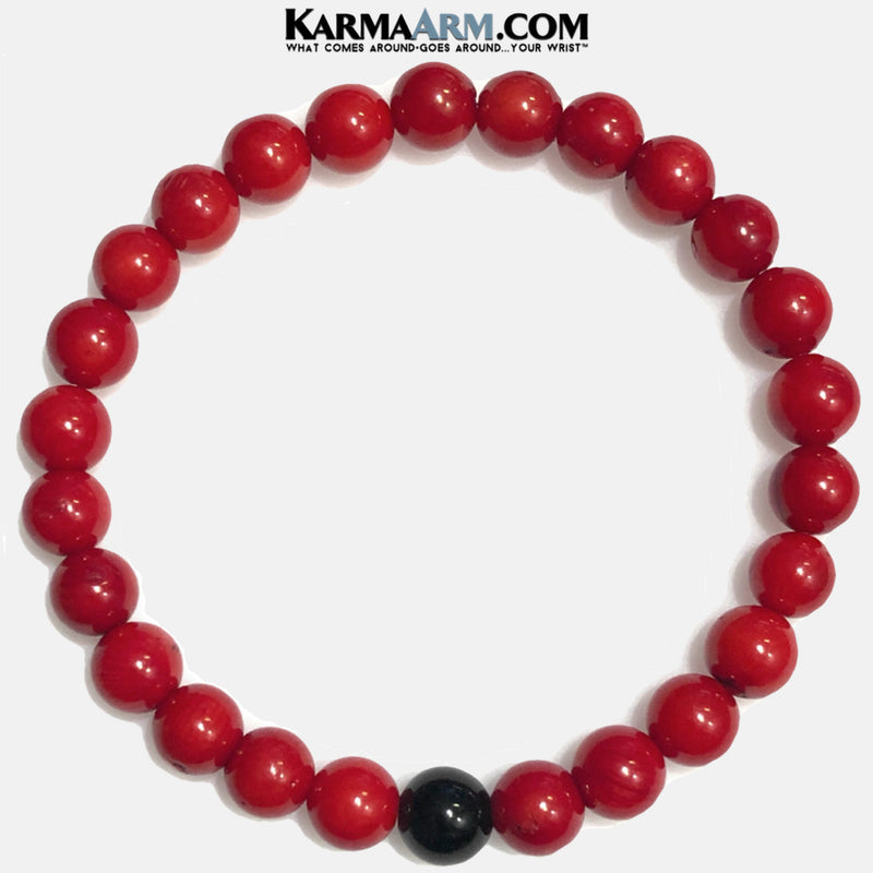 Meditation Self-Care Wellness  Yoga Bracelets. Mens Wristband Jewelry. Black Onyx. Red Coral.
