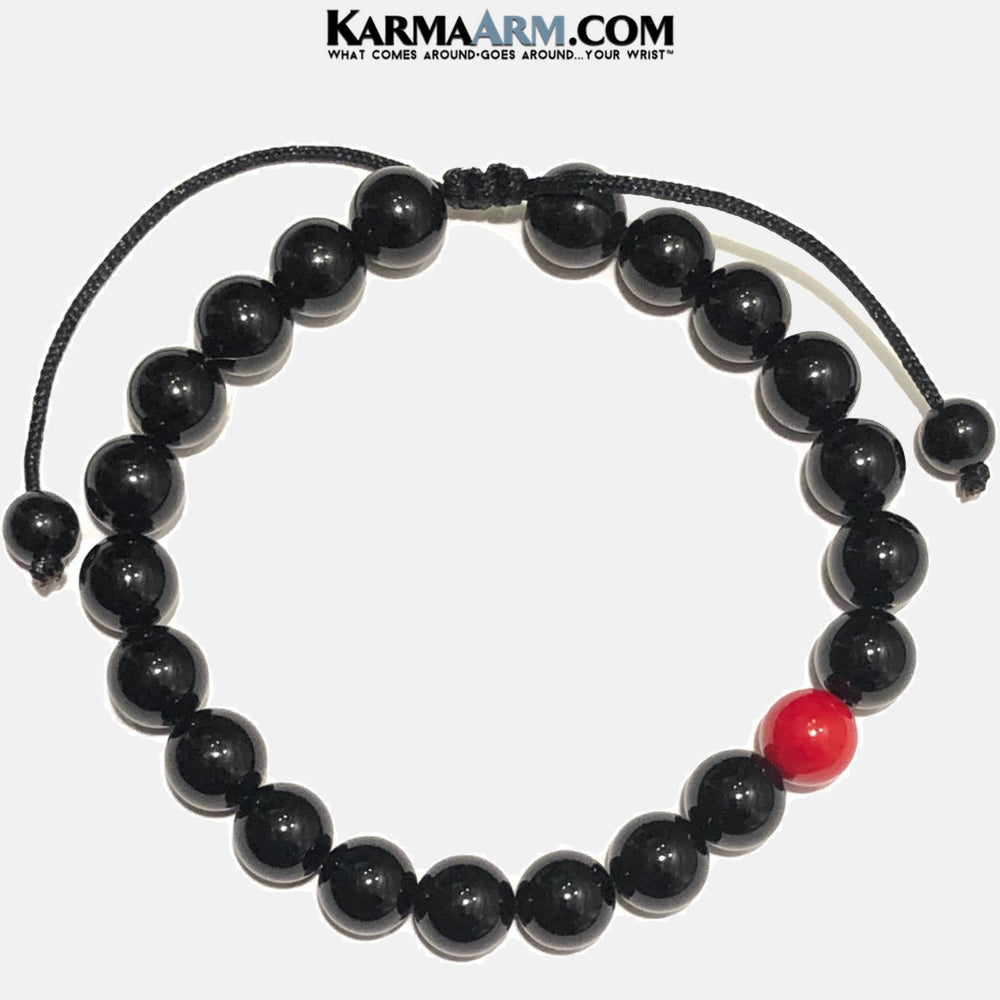 HOPE | Black Onyx | Red Coral Pull Tie Bracelet