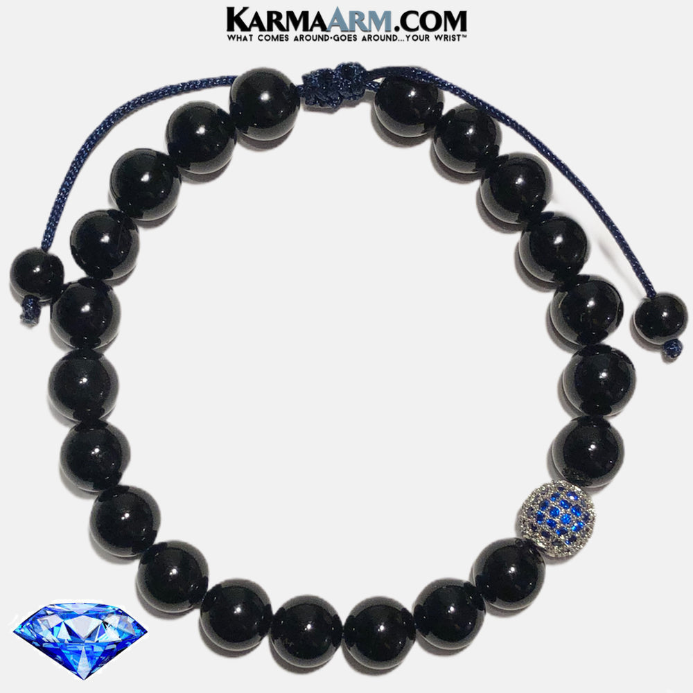 Meditation Self-Care Wellness  Yoga Bracelets. Mens Wristband Jewelry. Black Onyx. Sapphire Blue CZ Diamond.