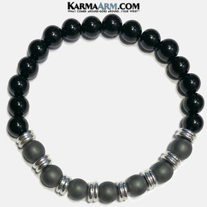 Meditation Self-Care Wellness  Yoga Bracelets. Mens Wristband Jewelry. Black Onyx Hematite.