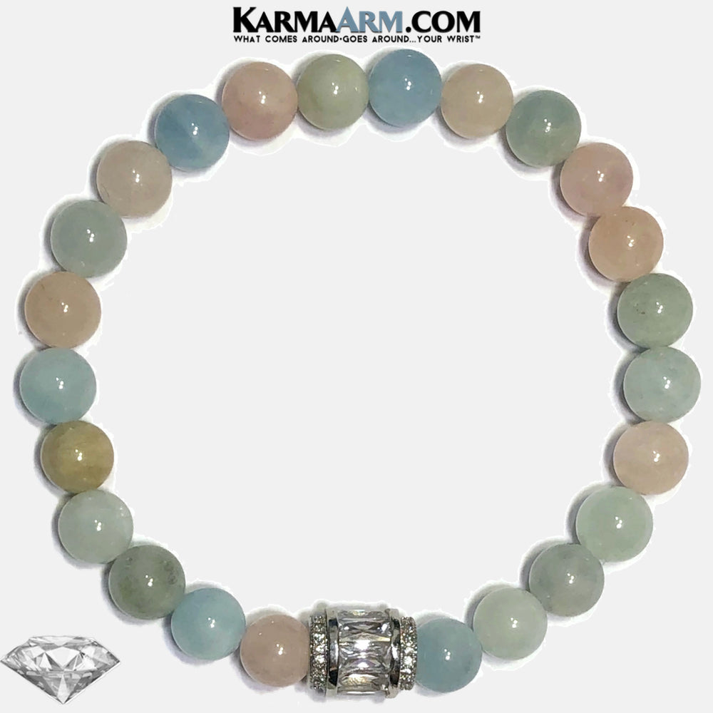 Bead Meditation Self-Care Wellness Yoga Bracelets. Mens Wristband Jewelry. Morganite. copy 2