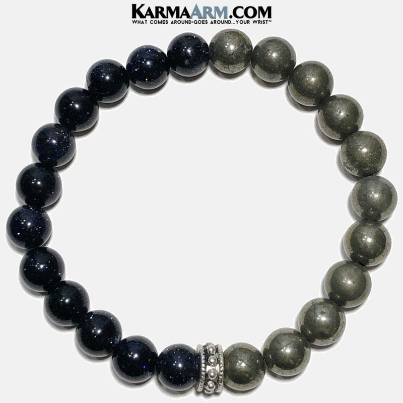 Meditation Self-Care Wellness Yoga Bracelets. Mens Wristband Jewelry. Pyrite Blue Goldstone.