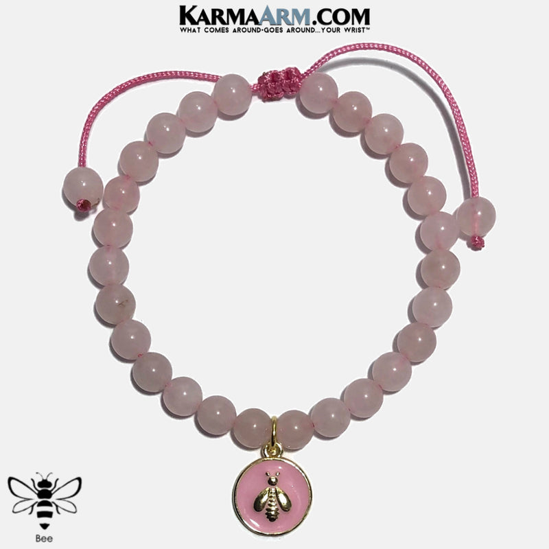 Bee Meditation Self-Care Yoga Bracelet. Wellness Wristband Yoga Jewelry. Rose Quartz.   copy