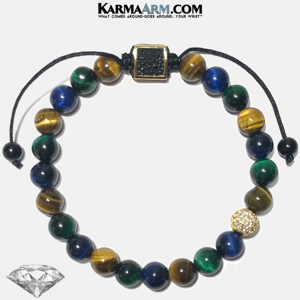 PERSONAL POWER | Green | Blue | Brown Tiger Eye | CZ Diamond Stingray Leather Pull Tie Bracelet