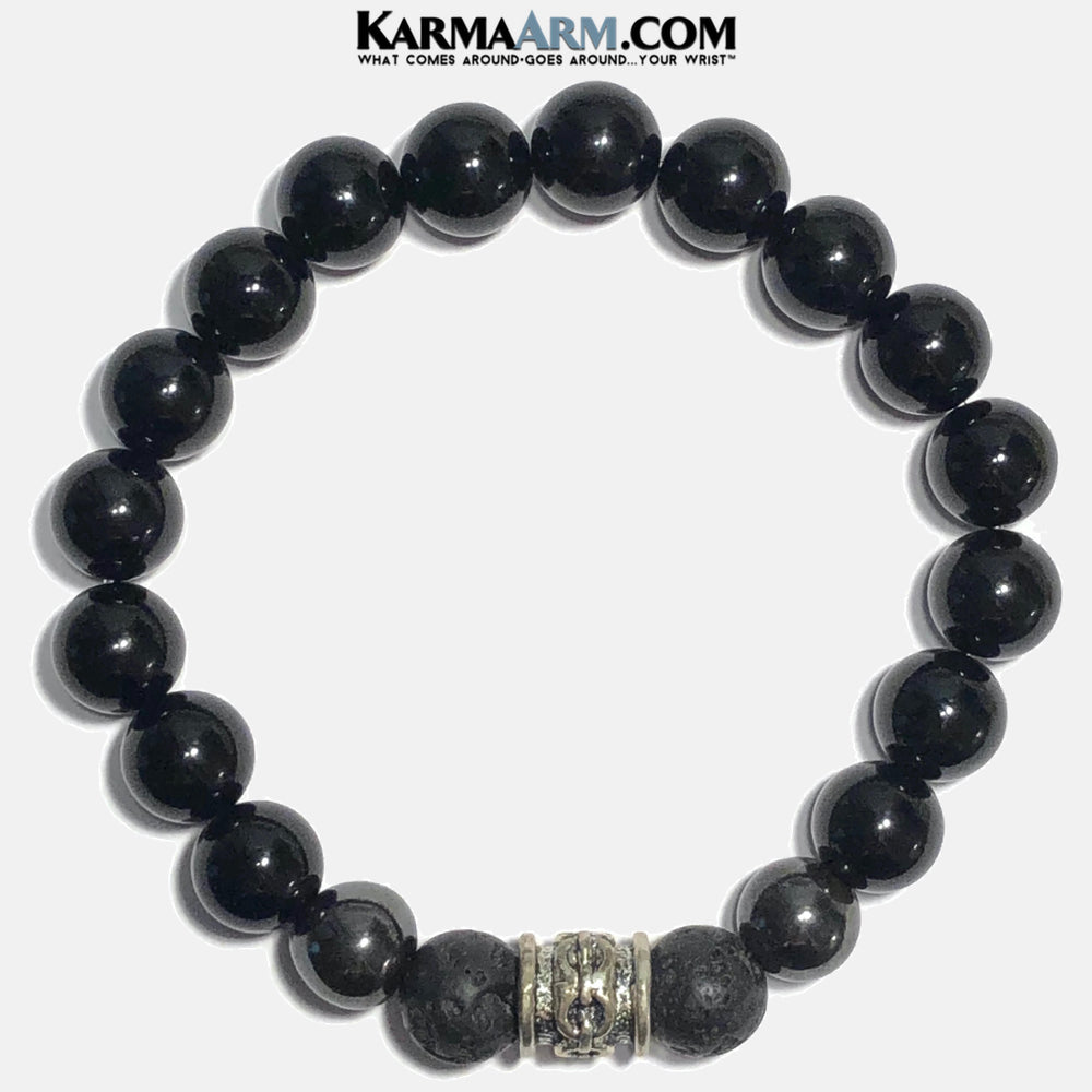 Meditation Yoga Bracelet. Mens Self-Care Wellness Wristband Jewelry. Black Onyx. Hematite Lava.