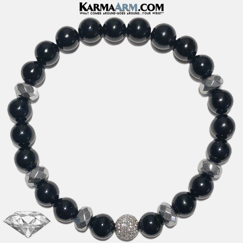 Meditation Wellness Self-Care  Yoga Bracelets. Mens Wristband Jewelry. Black Onyx.