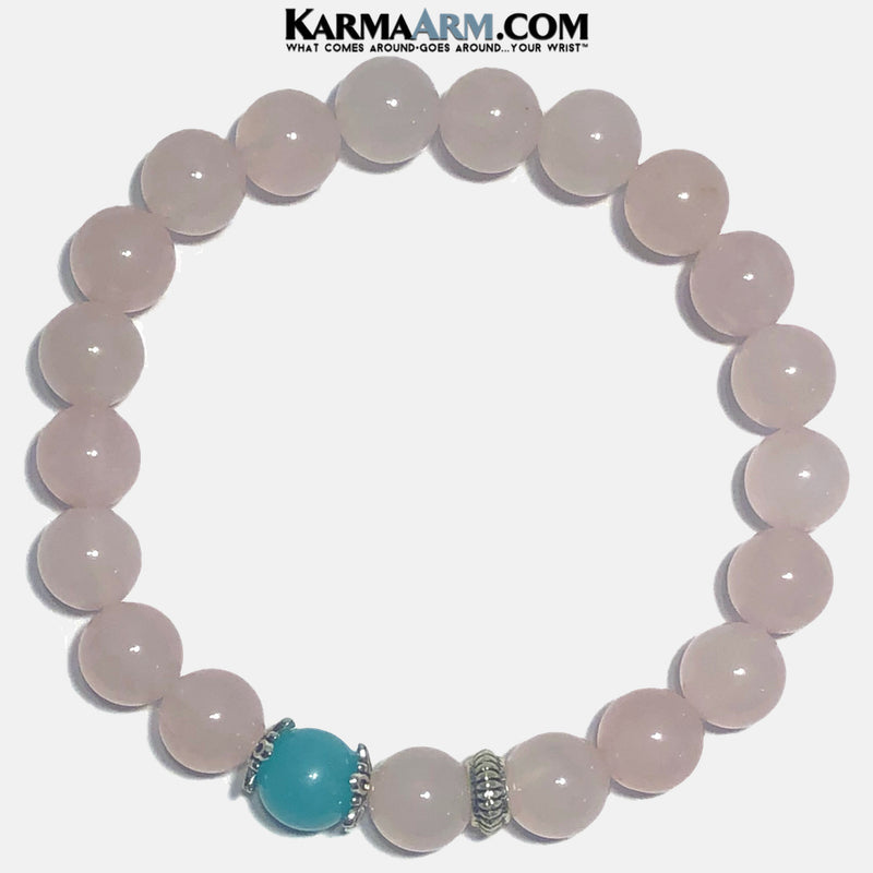 Meditation Yoga Bracelet. Mens Self-Care Wellness Wristband Jewelry. Rose Quartz Aquamarine.