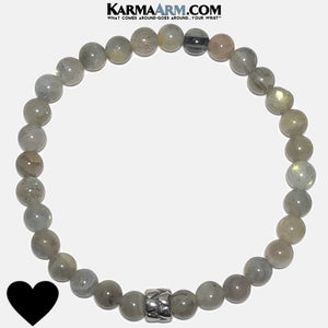 Meditation Yoga HEART Bracelet. Mens Wristband Jewelry. Labradorite. 6mm.