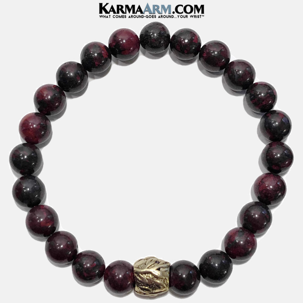 Bloodstone Meditation Yoga bracelets. mens wristband jewelry. Bloodstone.  Gold Leaf.