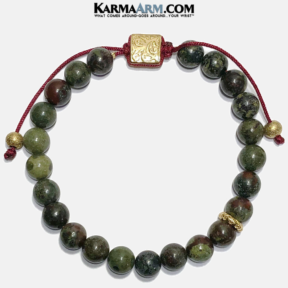 Meditation Yoga bracelets. mens wristband jewelry. Dragon Blood Stone.