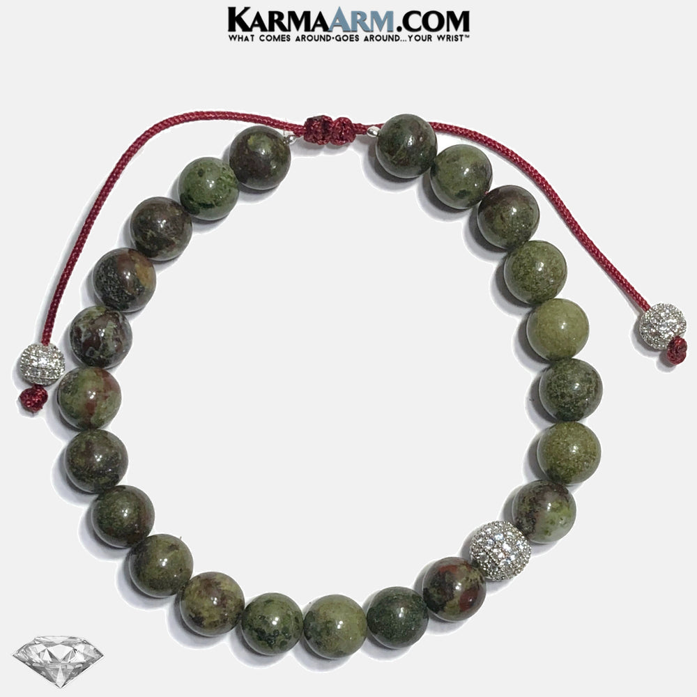 POWER TO LOVE | Dragon Blood Stone | CZ Diamond Pull Tie Bracelet
