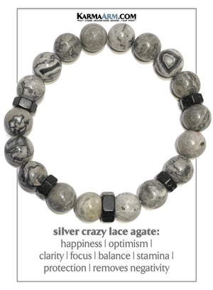 Meditation Mantra Bead Yoga Bracelet. Self-Care Wellness Wristband. Crazy Lace Agate. Black Hex.