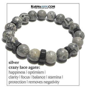 Yoga Meditation bracelets. self-care wellness mens bead wristband jewelry. Crazy Lace Agate. Black Hex.
