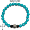 Cross Meditation Mantra Self-Care Wellness Yoga Bracelets. Mens Wristband Jewelry. Turquoise.