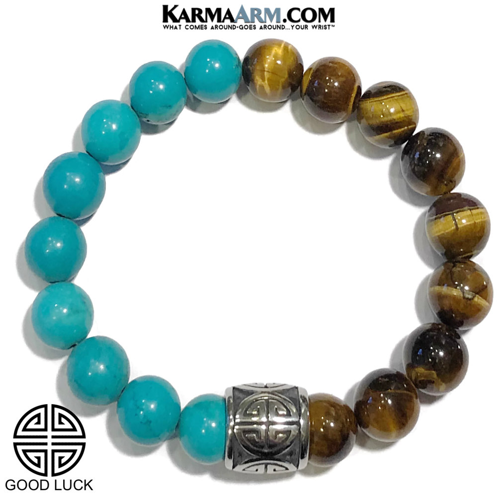 Meditation Mantra Self-Care Wellness Yoga Bracelets. Mens Wristband Jewelry. Turquoise Tiger Eye.