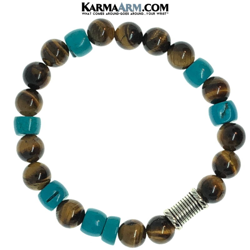 Meditation Mantra Self-Care Wellness Yoga Bracelets. Mens Wristband Jewelry. Turquoise Tiger Eye. copy