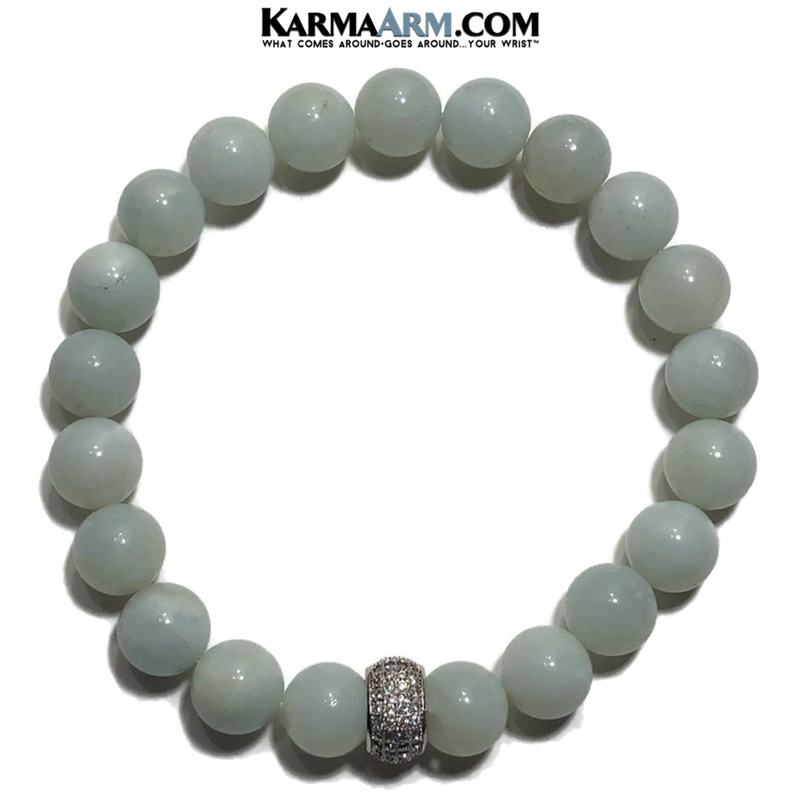 Meditation Mantra Yoga Bracelet. Meditation Self-Care Wellness Wristband Zen bead mala Jewelry. 10mm Blue Amazonite Pave.