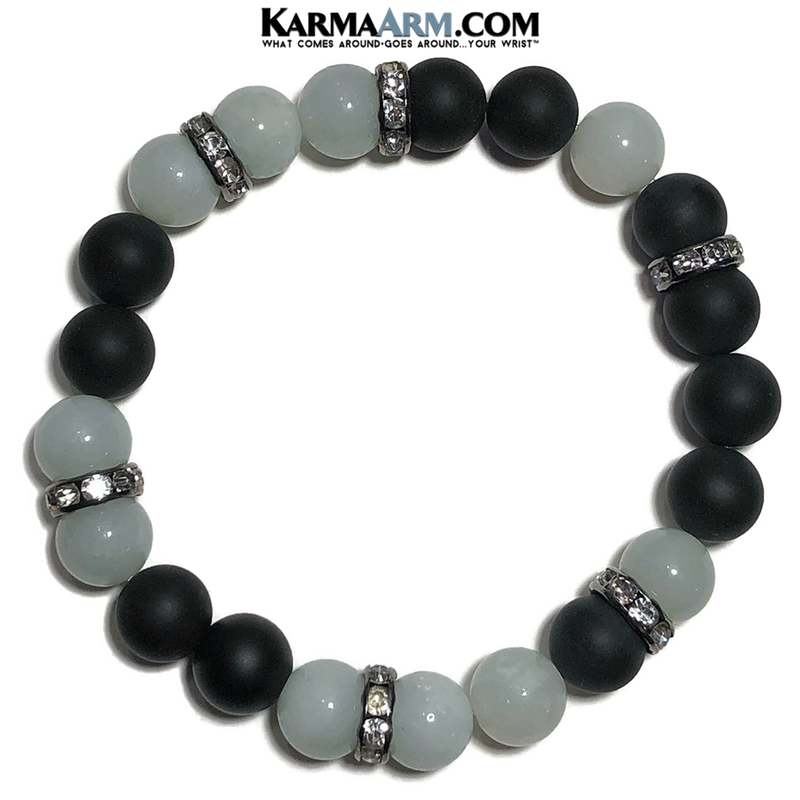 Meditation Mantra Yoga Bracelet. Meditation Self-Care Wellness Wristband Zen bead mala Jewelry.   Amazonite Black Onyx.