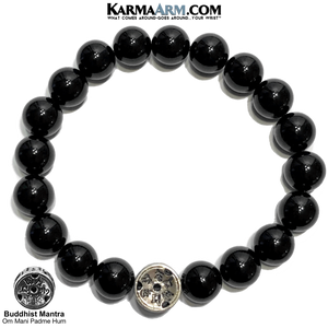 Yoga bracelets. Meditation self-care wellness mens bead wristband jewelry. 10mm black onyx Om mani padme hum. Disc.
