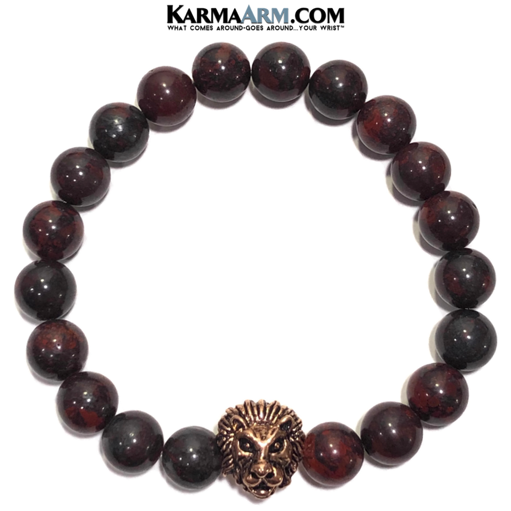 Meditation Mantra Yoga Bracelet. Meditation Self-Care Wellness Wristband Zen bead mala Jewelry. Bloodstone Lion.