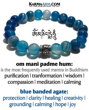 Meditation Mantra Yoga Bracelet. Meditation Self-Care Wellness Wristband Zen bead mala Jewelry. Blue Banded Agate Om Mani Padme Hum.