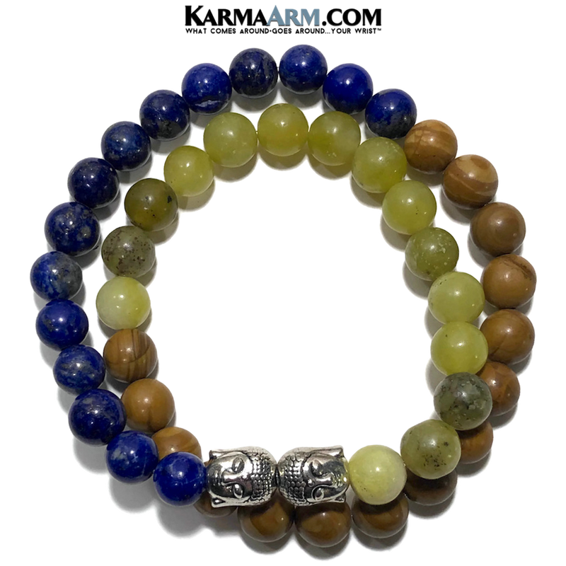 Meditation Mantra Yoga Bracelet. Meditation Self-Care Wellness Wristband Zen bead mala Jewelry. Buddha Lapis Jade Jasper.