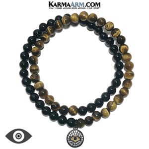 Meditation Mantra Yoga Bracelets. Meditation Self-Care Wellness Wristband Zen bead mala Jewelry. Evil Eye Tiger Eye Black Onyx.