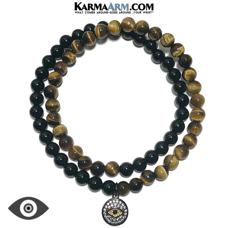 Meditation Mantra Yoga Bracelet. Meditation Self-Care Wellness Wristband Zen bead mala Jewelry. Evil Eye Tiger Eye Black Onyx.