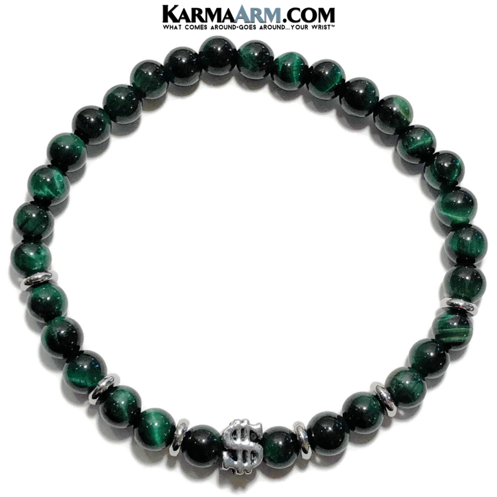 Meditation Mantra Yoga Bracelet. Meditation Self-Care Wellness Wristband Zen bead mala Jewelry. Green Tiger Eye Dollar Sign.