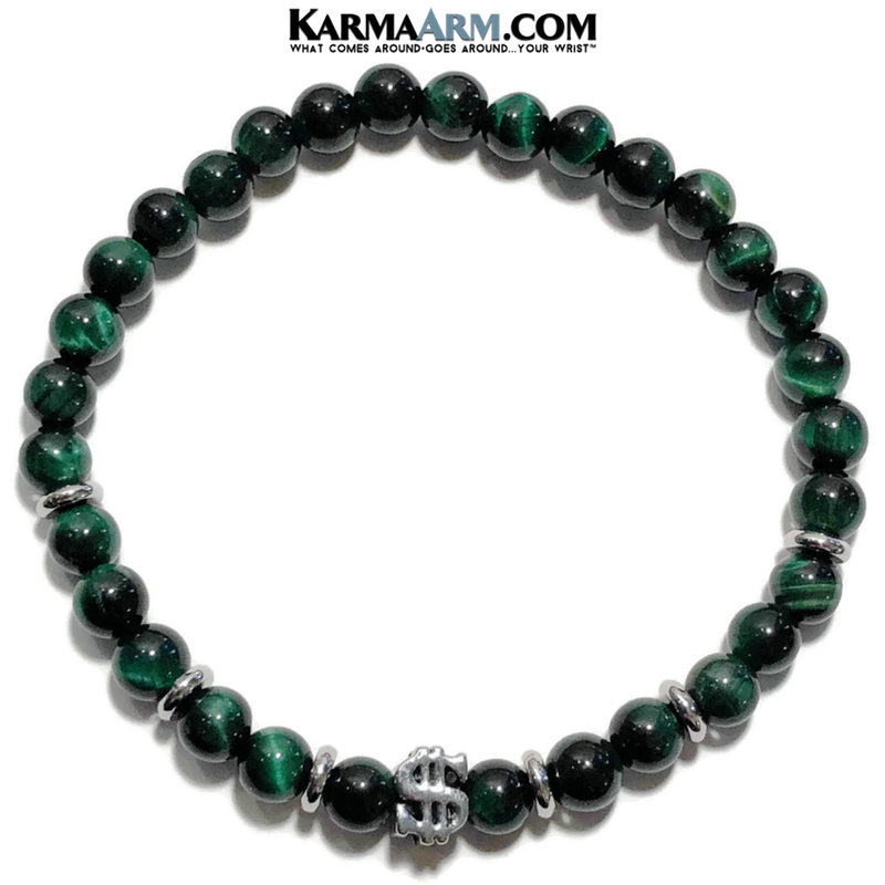 Yoga bracelets. Meditation self-care wellness mens bead wristband jewelry. Green Tiger Eye Dollar Sign. copy 2