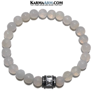 Meditation Mantra Yoga Bracelet. Meditation Self-Care Wellness Wristband Zen bead mala Jewelry.   White Jade CZ Diamond.
