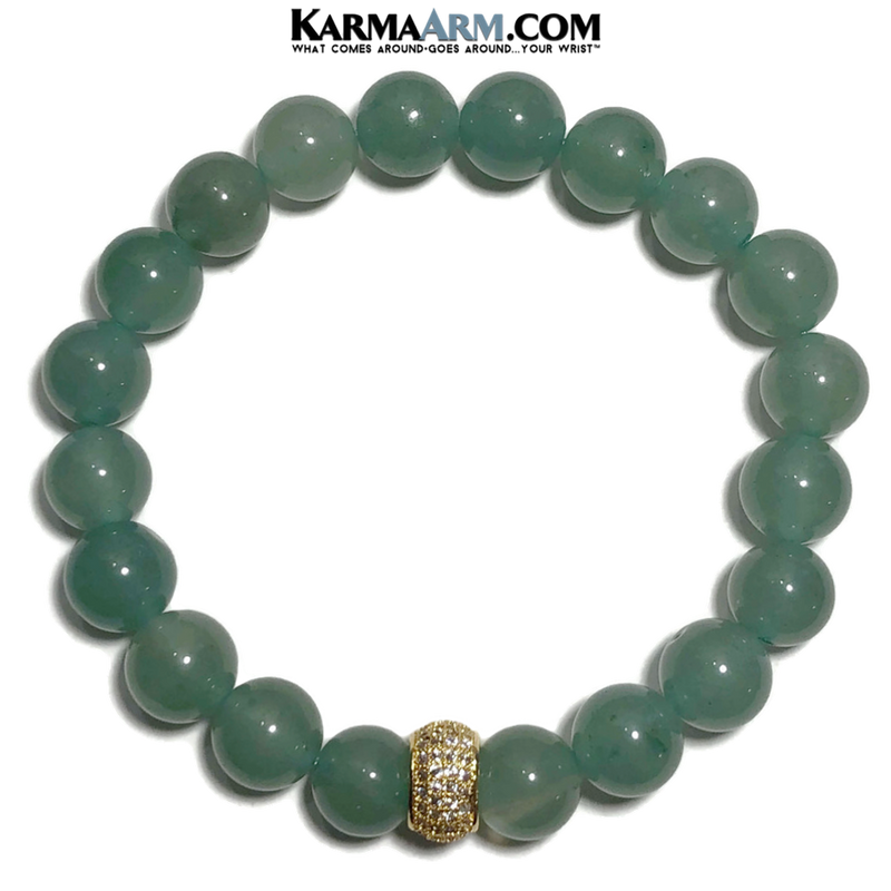 Meditation Mantra Yoga Bracelet. Meditation Self-Care Wellness Wristband Zen bead mala Jewelry.  green aventurine diamond.