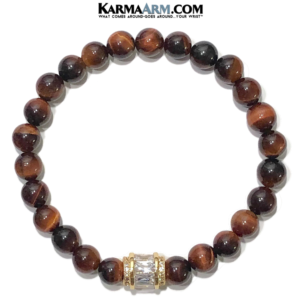 Meditation Mantra Yoga Bracelet. Self-Care Red Tiger Eye Mens Jewelry.  CZ Barrel.