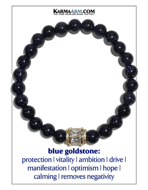 Meditation Mantra Yoga Bracelet. Self-Care Wellness Wristband Jewelry. Blue Goldstone.