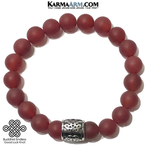 Meditation Mantra Yoga Bracelet. Self-Care Wellness Wristband Red Agate Endless Knot.