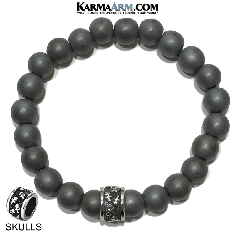 Meditation Mantra Yoga Bracelet. Self-Care Wellness Wristband Skull Jewelry.